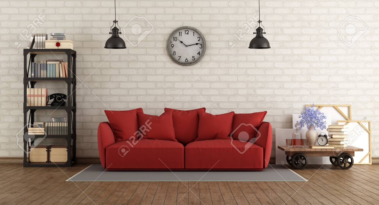 Vintage Living Room With Red Sofa And Retro Furniture 3d