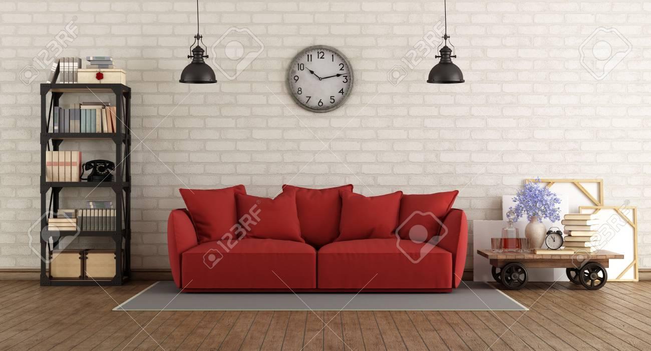 Vintage Wohnzimmer Mit Roten Sofa Und Retro-Möbel - 3D-Rendering ...