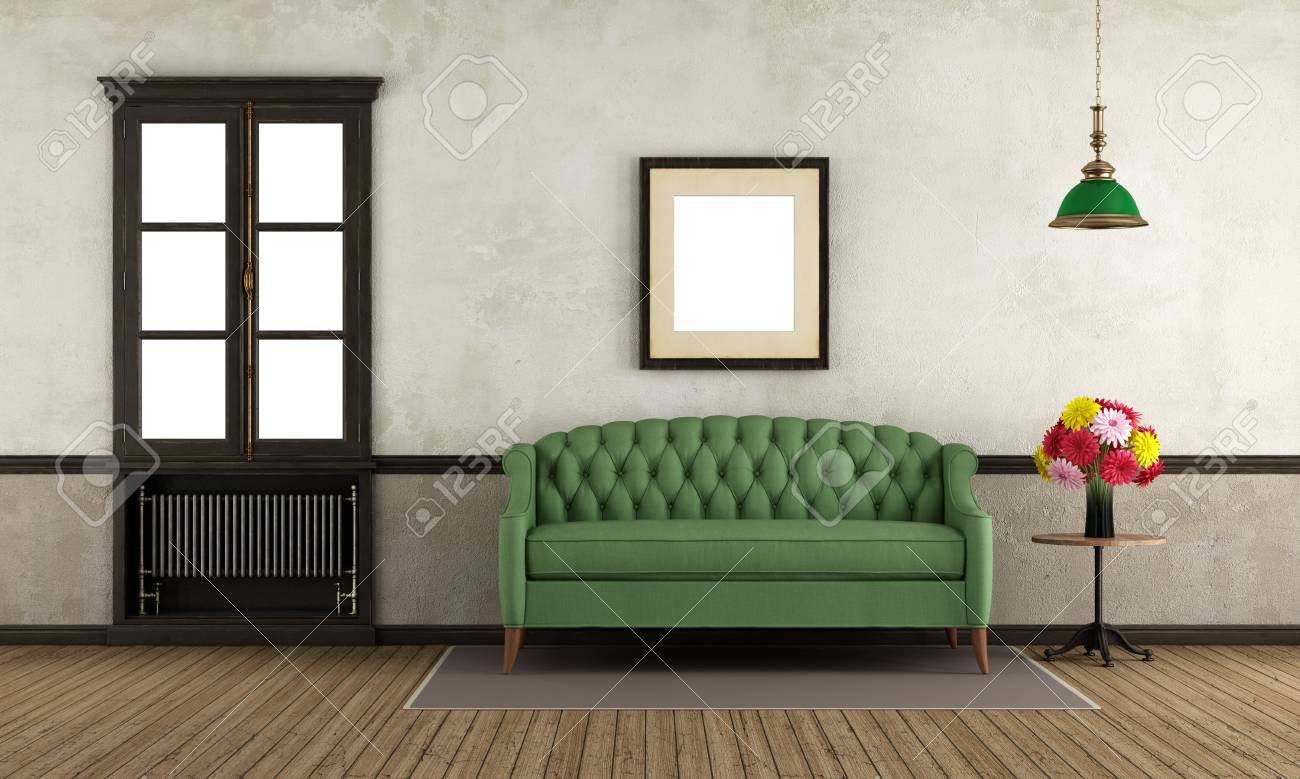 Empty Retro Living Room With Green Sofa And Old Wooden Window   3d  Rendering Stock Photo
