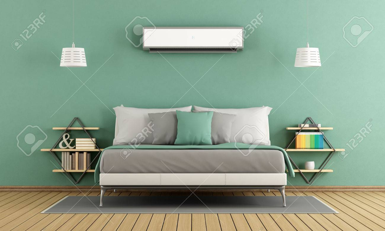 Green modern master bedroom with air conditioner - 3d rendering