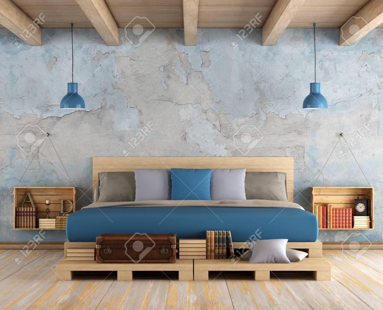 Bois Pour Mur Chambre chambre à coucher principale avec palette lit double, mur ancien et plafond  en bois - rendu 3d