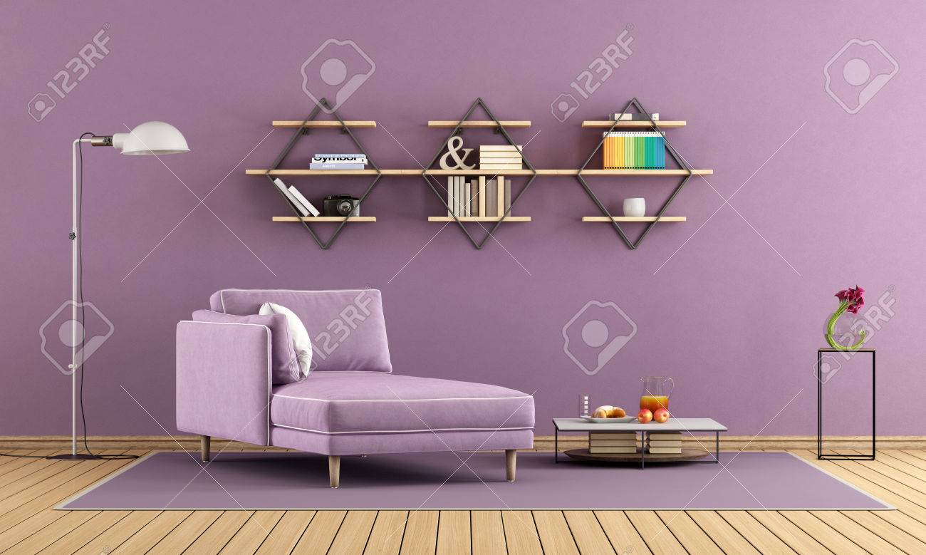 Modern living room with purple chaise lounge and shelves on wall 3d rendering stock photo