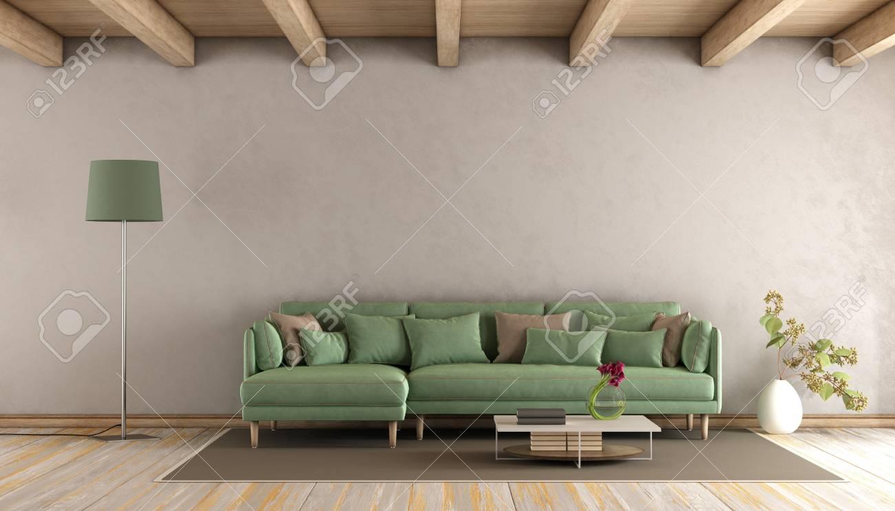 Wohnzimmer Mit Grünem Sofa, Braune Wand Und Holzdecke   3D Rendering  Standard Bild