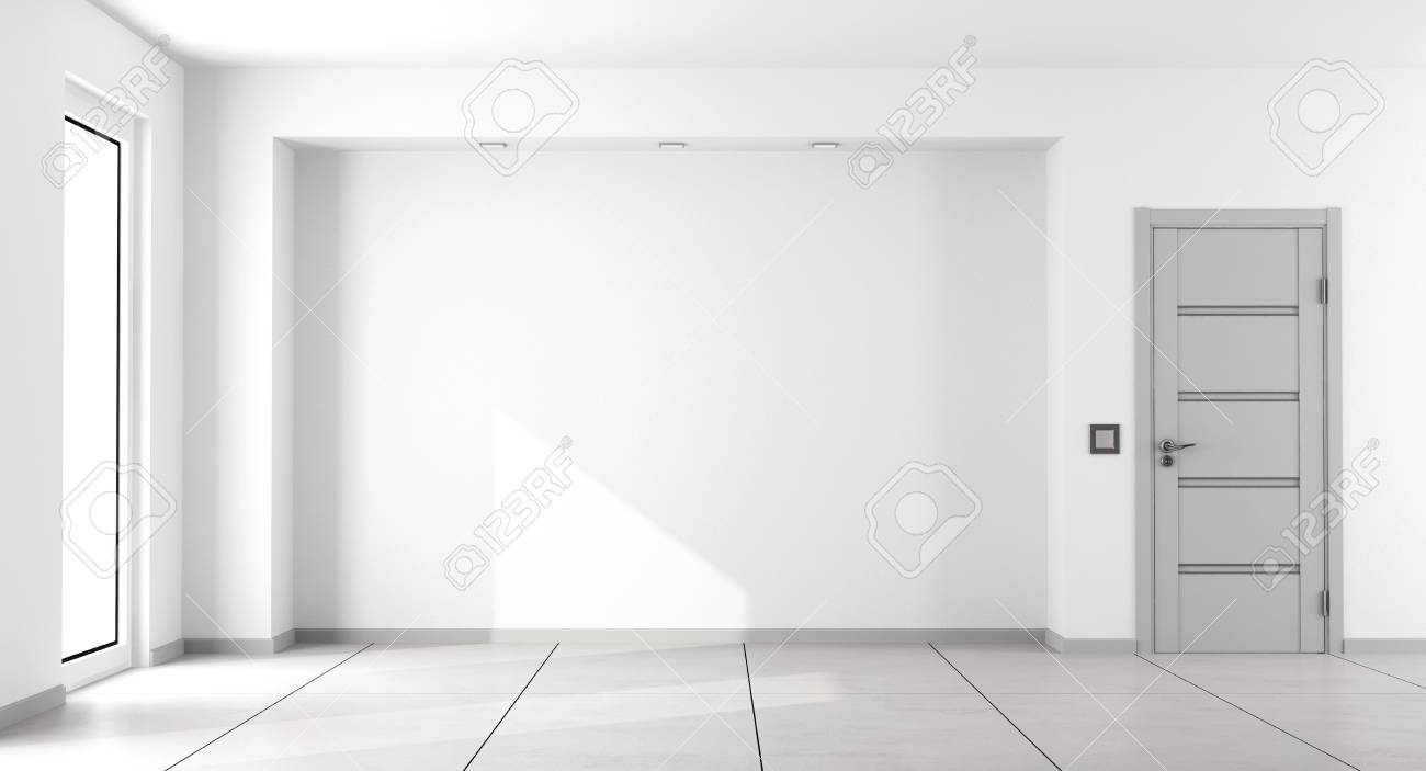 Empty white minimalist living room with gray closed door and window - 3d rendering - 82271329