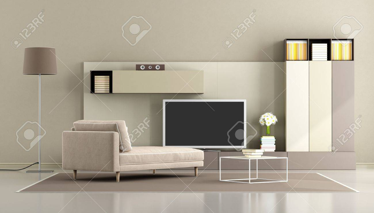 Modern living room with chaise lounge and tv unit - 3d rendering
