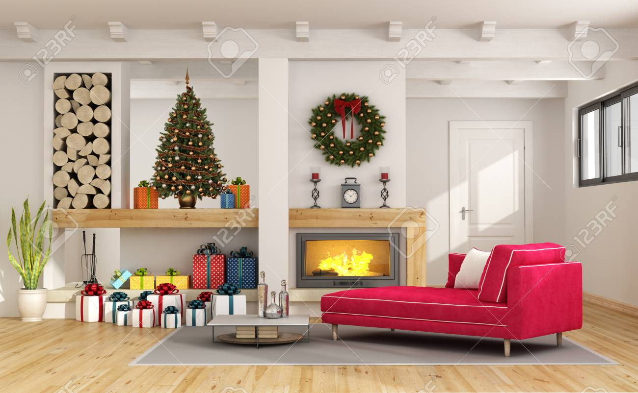 Living room with christmas tree, fireplace and red chaise lounge..