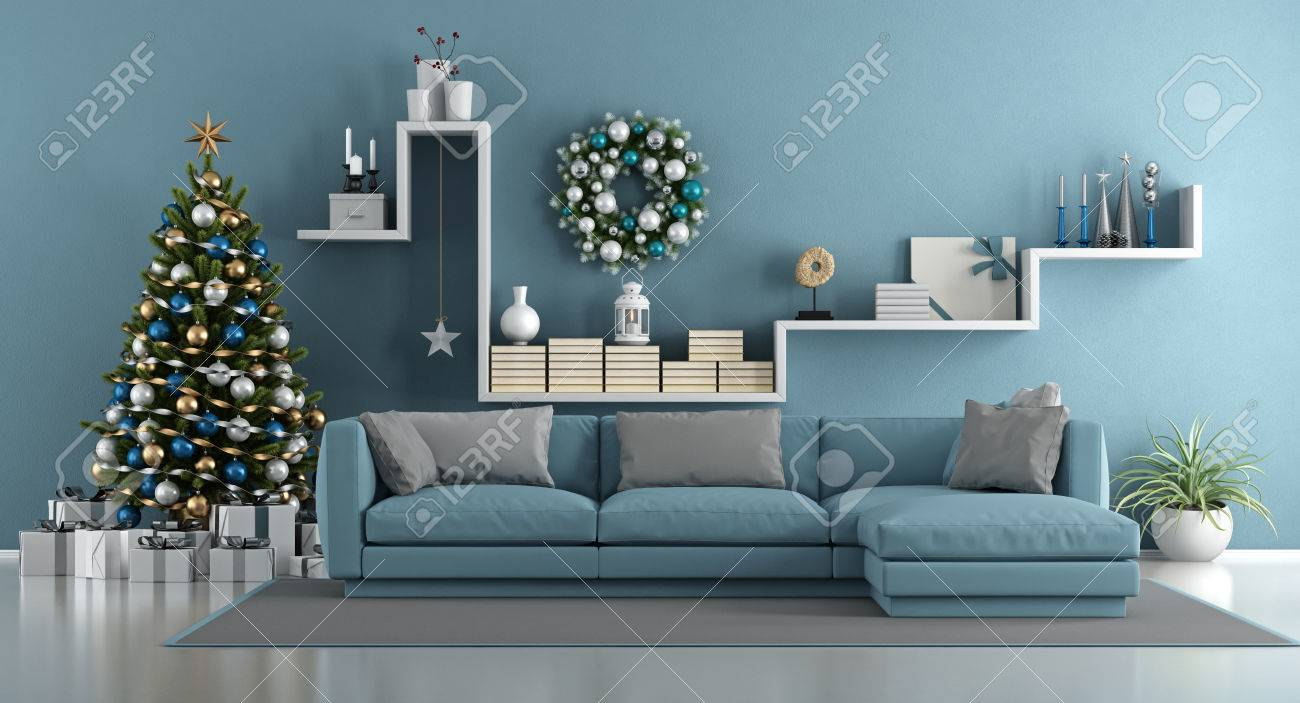 Salon bleu avec arbre de Noël, canapé élégant et étagère blanche avec  objets de décoration - rendu 3d