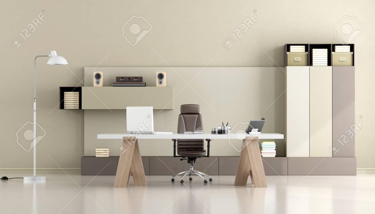Bureau Moderne Minimaliste Avec Bureau Et Bibliothèque - Rendu 3d ...