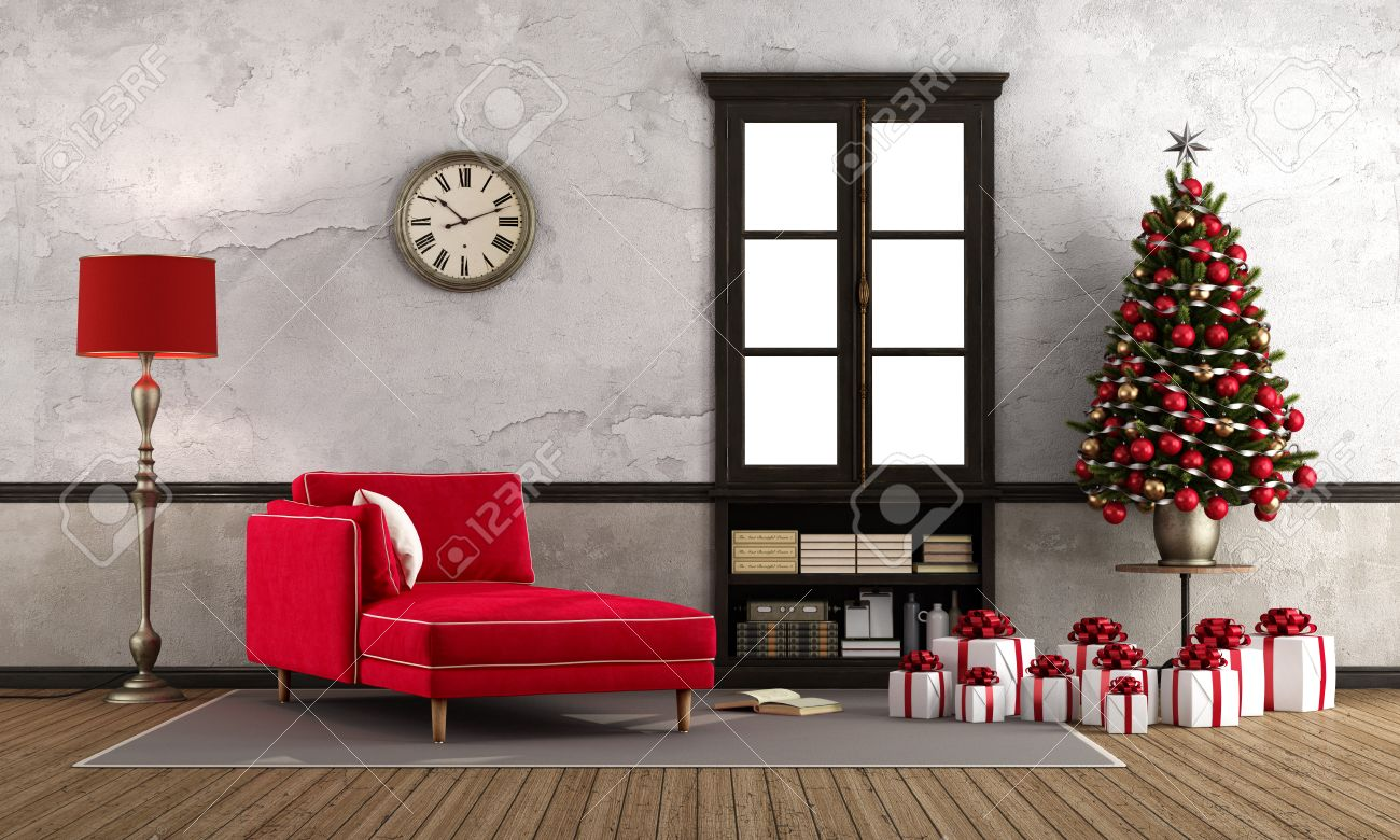 old living room with red chaise treepresent and wooden window