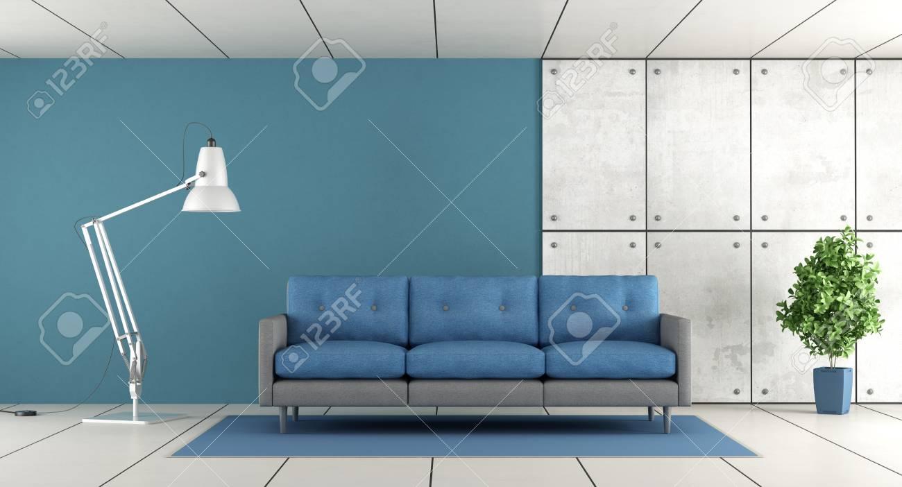 Modernes Wohnzimmer Mit Sofa, Blauer Wand Und Konkreter Täfelung    Wiedergabe 3d Standard Bild