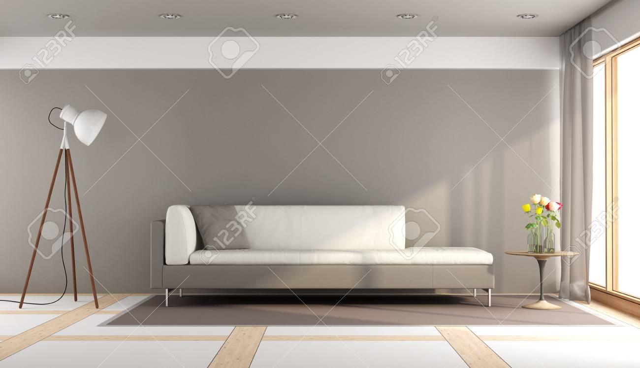 Modernes Wohnzimmer Mit Weissem Und Braunem Sofa Stehlampe Und