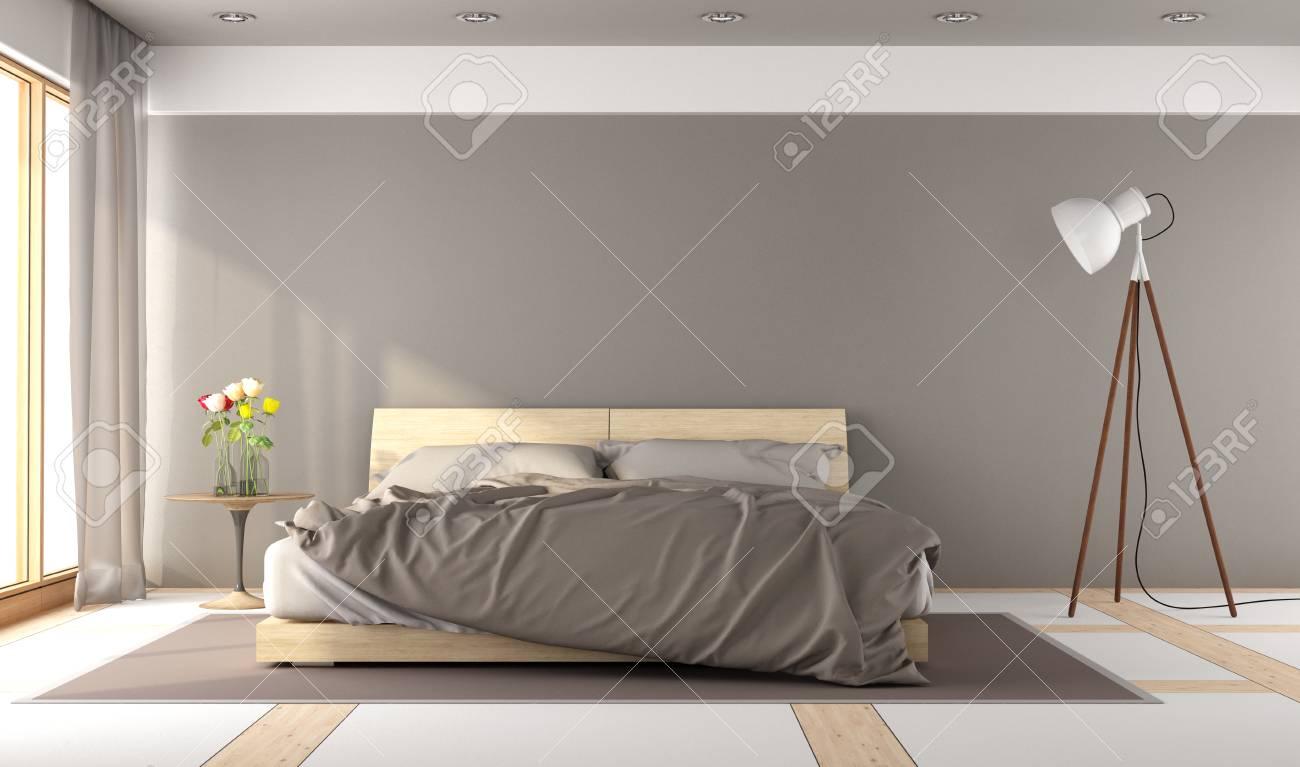 Brown master bedroom in minimalist style - 3d rendering