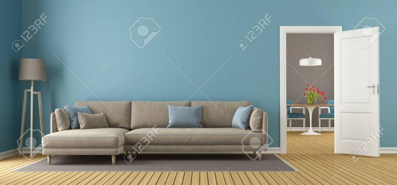 Blau Und Braun Wohnzimmer Mit Offener Tür Und Esszimmer Auf Hintergrund    3D Rendering Standard