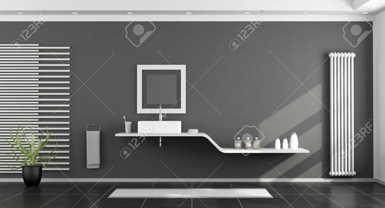 Salle De Bains Moderne Noir Et Blanc Avec Lavabo Sur étagère - Rendu ...