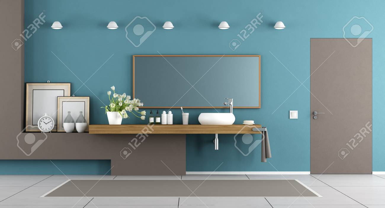 Blue And Brown Modern Bathroom With Washbasin On Wooden Shelf ...