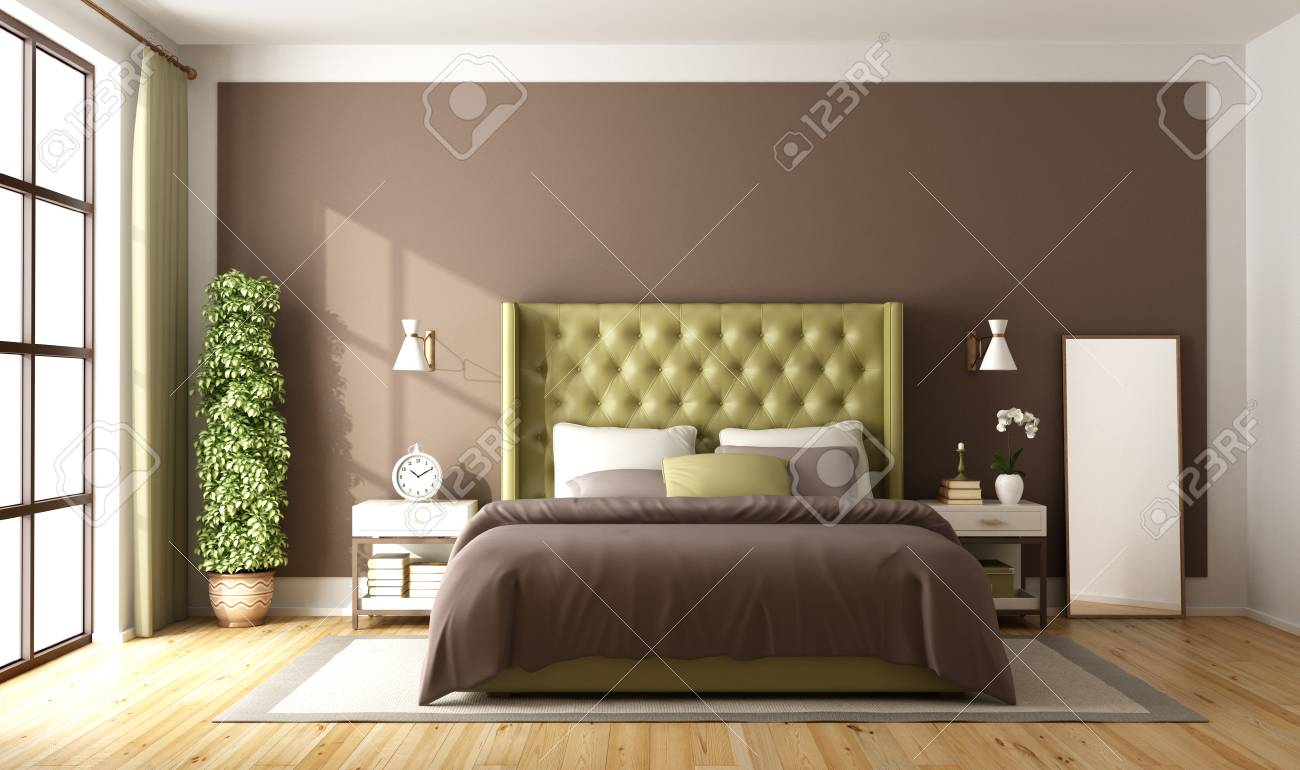 Brown And Green Master Bedroom With Elegant Double Bed 3d Rendering Stock Photo Picture And Royalty Free Image Image 87020829