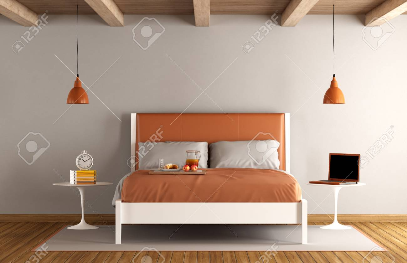 Minimalist master bedroom with double bed - 3d rendering