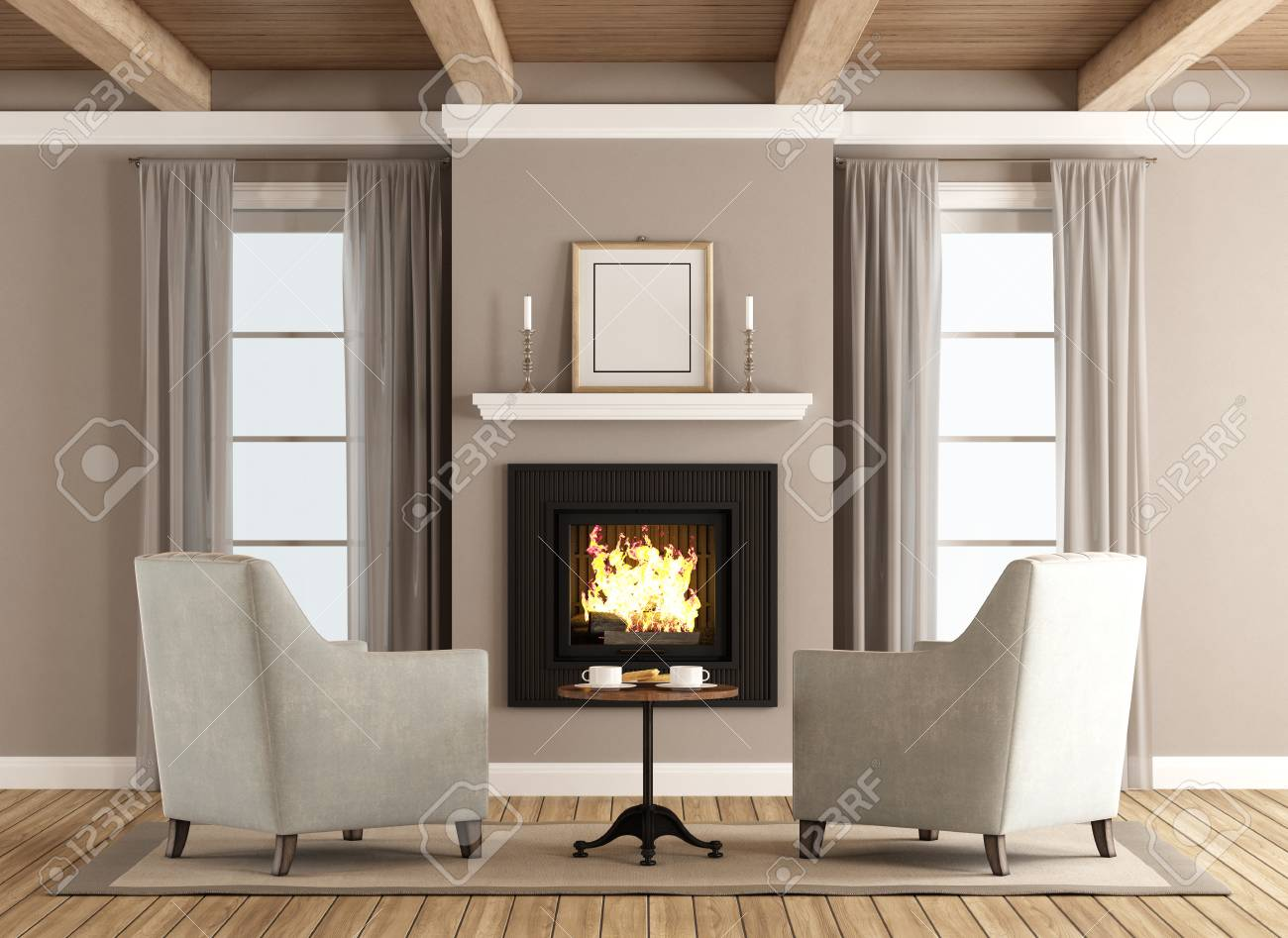 Classic Living Room With Two Armchairs In Front Of The Fireplace   3d  Rendering Stock Photo