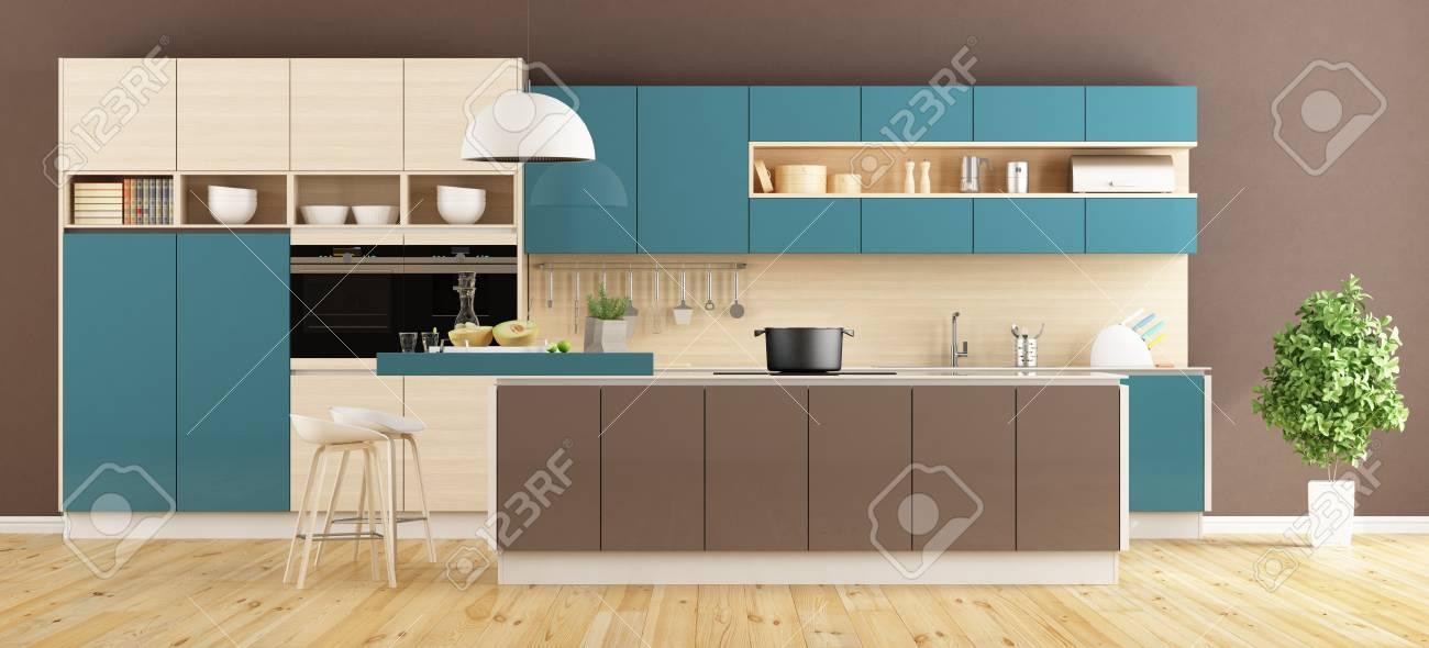 Braune Und Blaue Moderne Küche Mit Insel Und Hocker 3D-Rendering ...