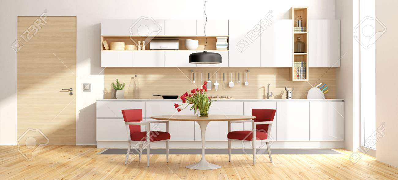 White And Wooden Modern Kitchen With Round Dining Table And Chairs Stock Photo Picture And Royalty Free Image Image 88235545