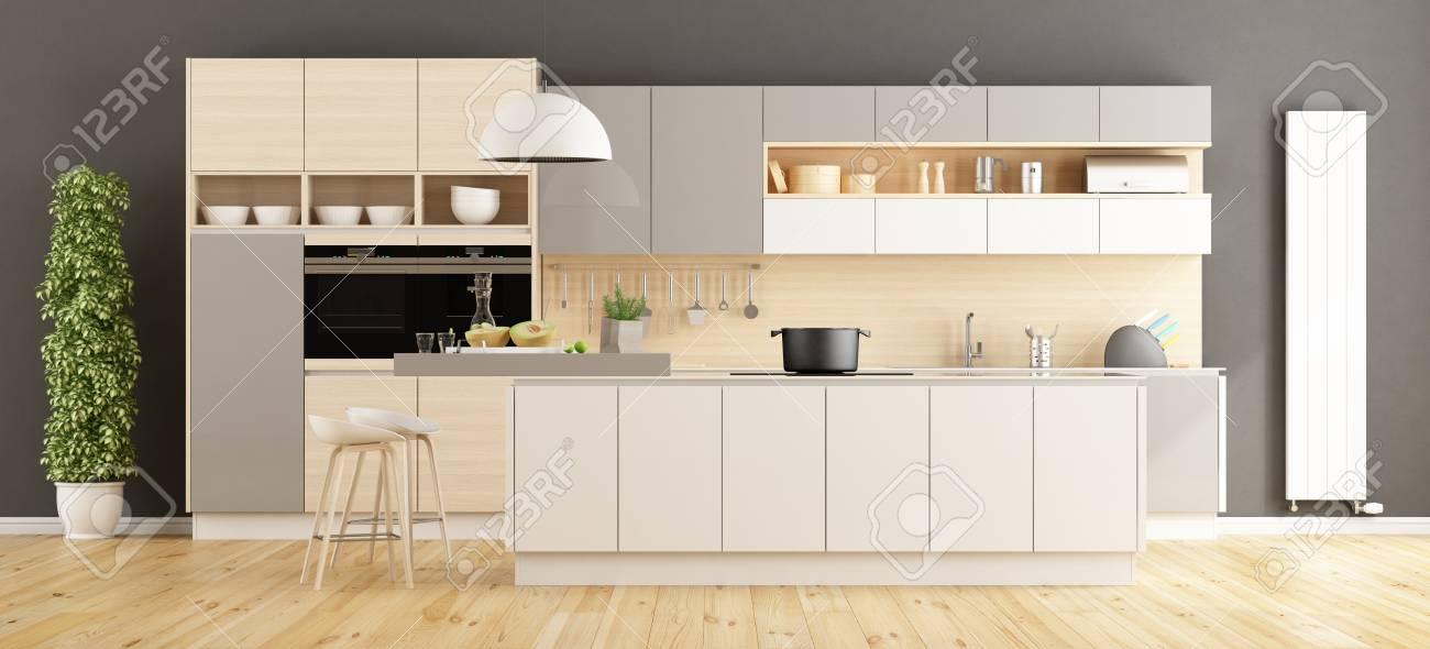 Cocina Moderna Blanca Y Gris Con La Isla - Representación 3d Fotos ...