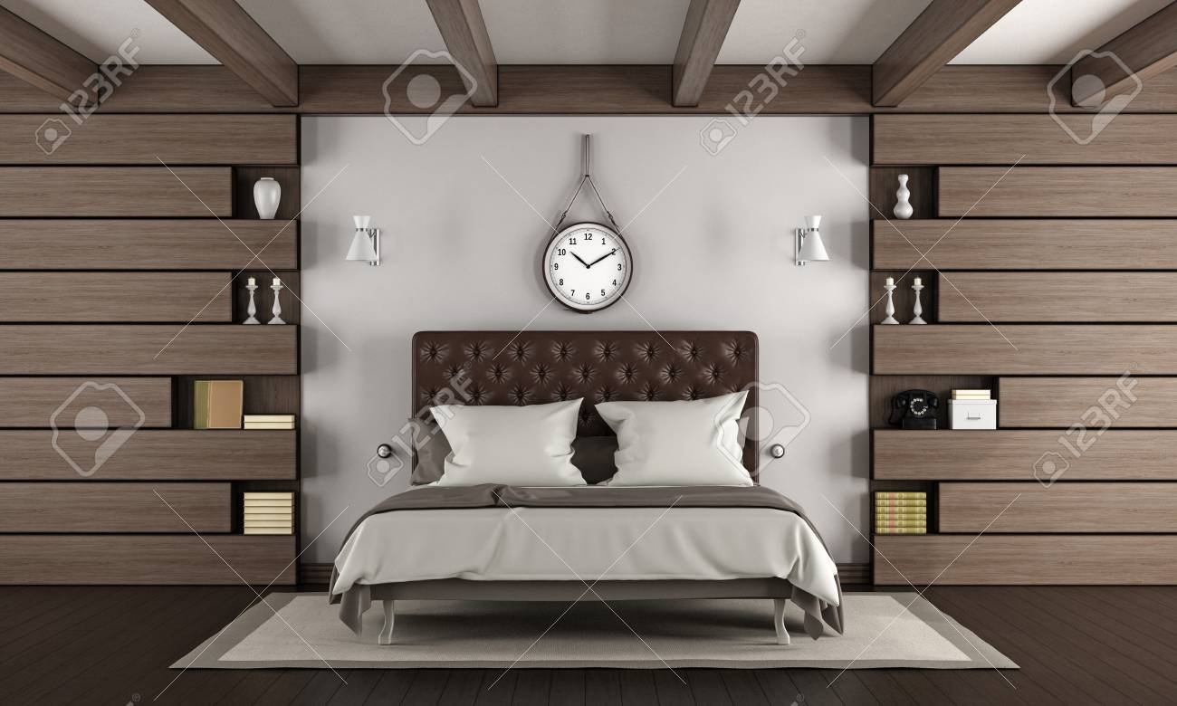 Elegant Master Bedroom With Double Bed And Wooden Paneling Stock Photo Picture And Royalty Free Image Image 88651544