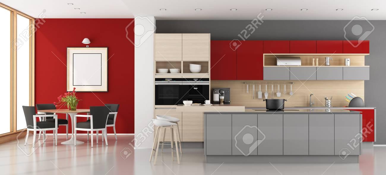 Cuisine Moderne Rouge Et Gris Avec Salle A Manger Rendu 3d Banque