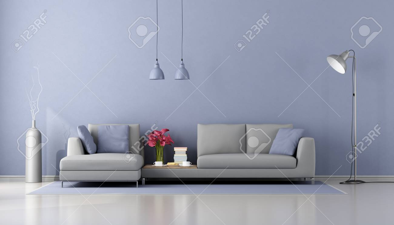 minimalist living room with modern gray sofa and purple wall stock rh 123rf com