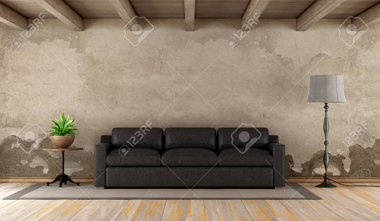 Retro living room with black leather sofa on grunge wall - 3d..