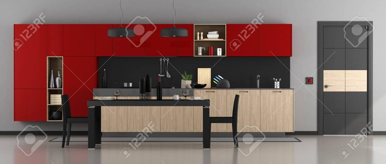 Cuisine moderne rouge et noir avec table à manger, chaises et porte fermée  - rendu 3d