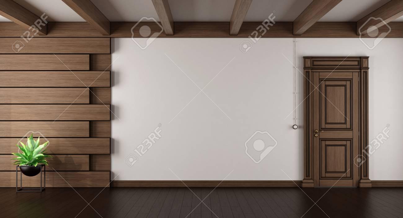Leeres Elegantes Wohnzimmer Mit Dunkler Hölzerner Täfelung Und  Geschlossener Tür   Wiedergabe 3d Standard Bild