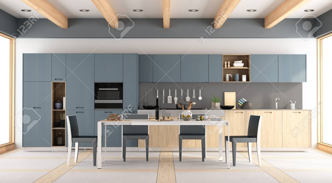 Modern Wooden And Blue Kitchen With Dining Table And Chairs