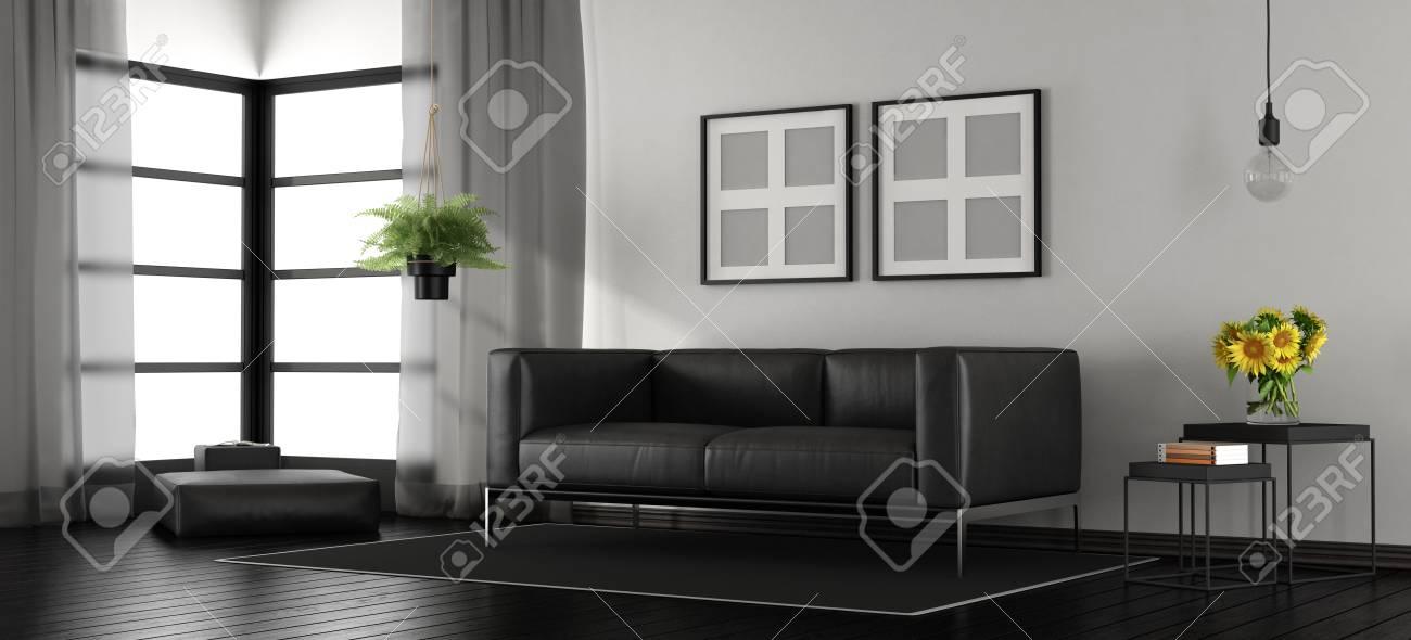 Salon moderne noir et blanc avec canapé en cuir et repose-pieds - rendu 3d