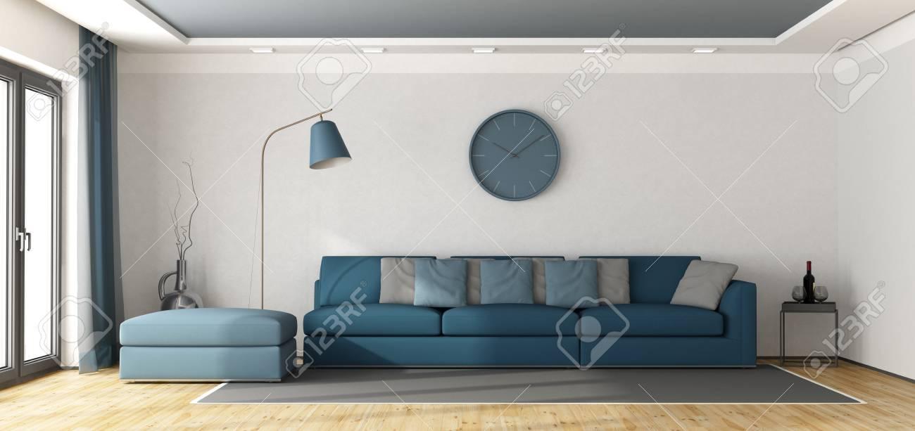 Blaues Sofa In Einem Weissen Wohnzimmer Wiedergabe 3d Lizenzfreie