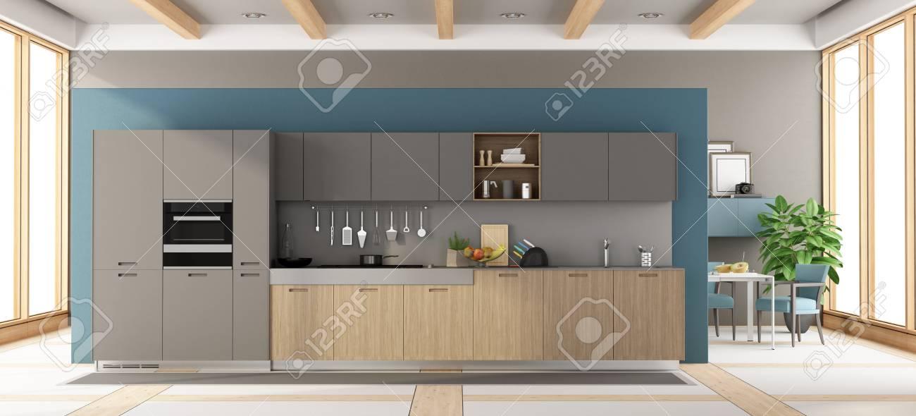 Cocina De Madera Y Gris Moderna Con La Mesa De Comedor Y Sillas En ...