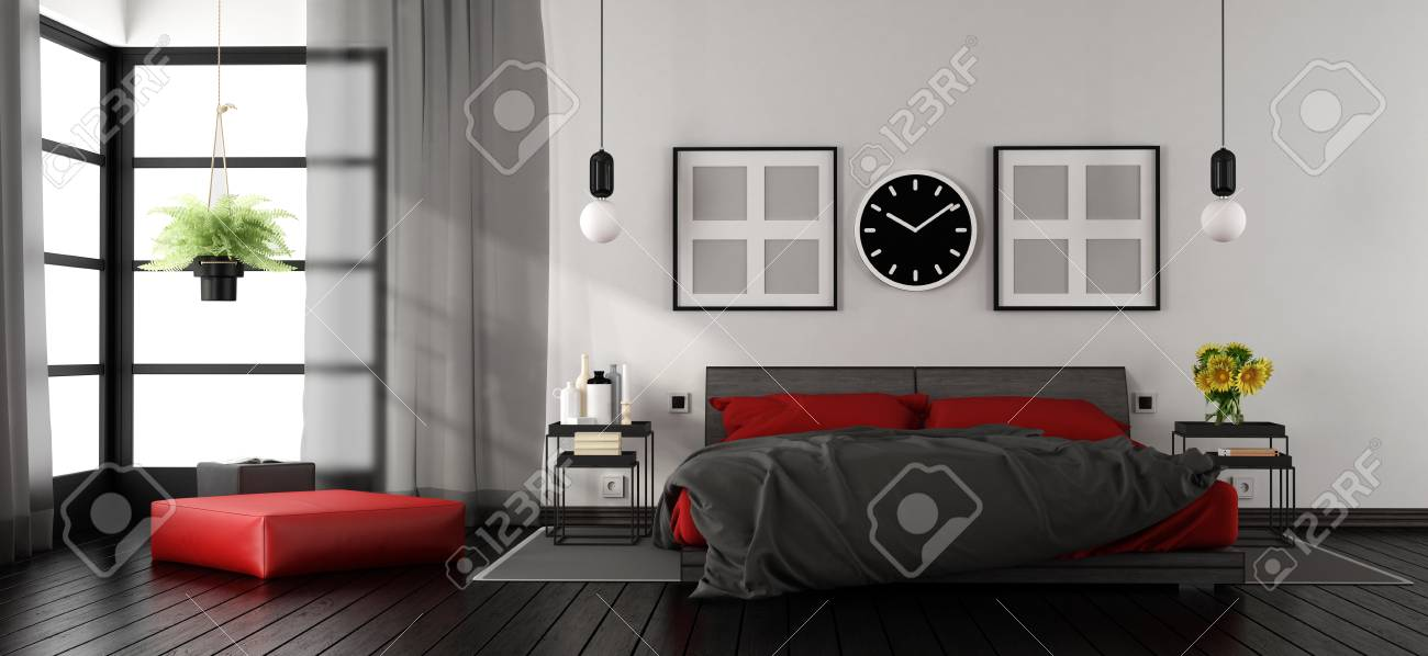 Modern Master Bedroom With Red And Black Double Bed Nightstand Stock Photo Picture And Royalty Free Image Image 90621749