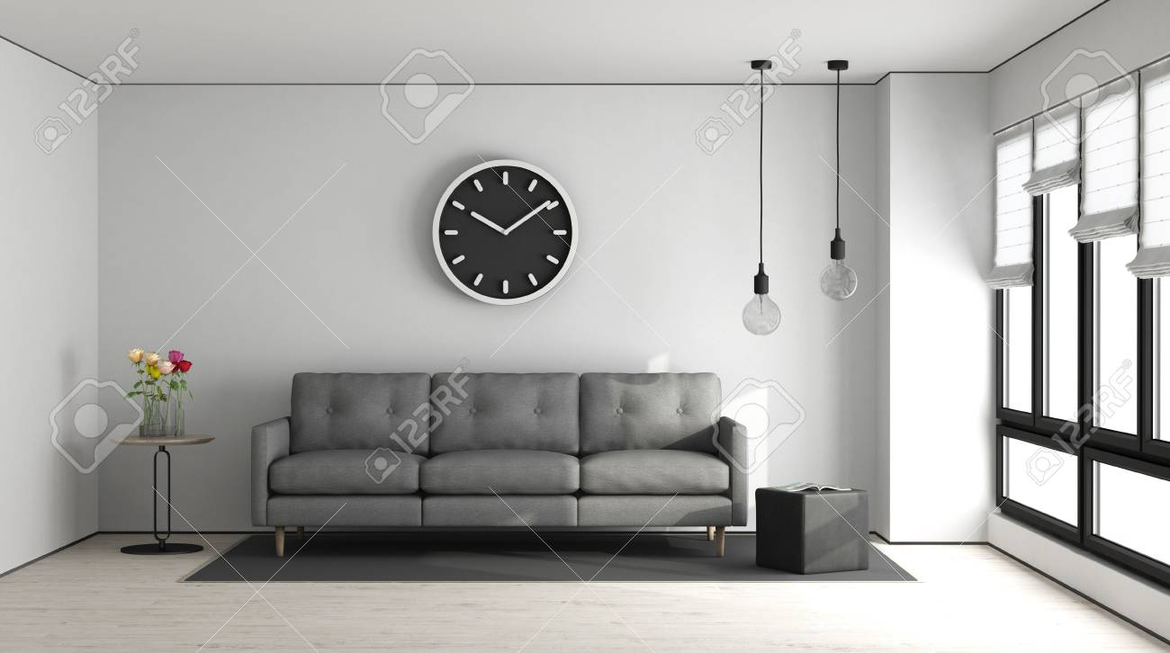 Minimalist Living Room With White Wall And Gray Sofa - 3d Rendering ...