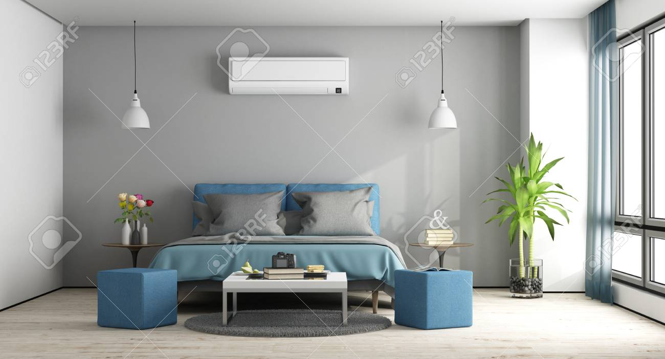 Gray and blue modern master bedroom with furniture and air conditioner..