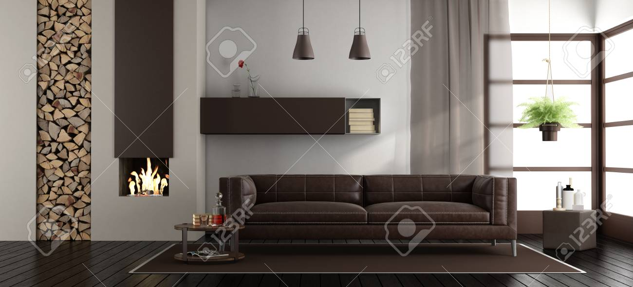 Salon moderne avec cheminée et canapé en cuir marron - rendu 3d