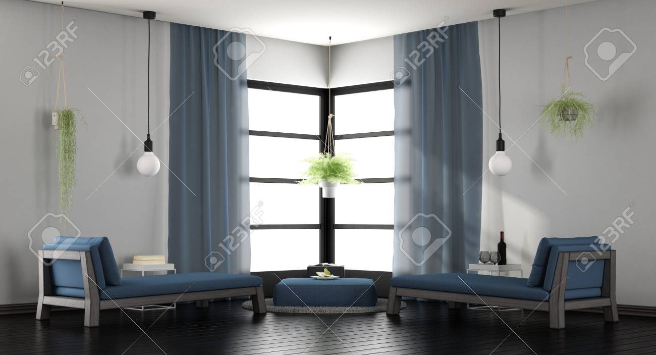 Modern white and blue living room with two chaise lounges - 3d..