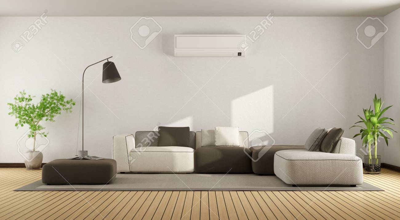 Minimalist Living Room With Sofa And Air Conditioner - 3d Rendering ...