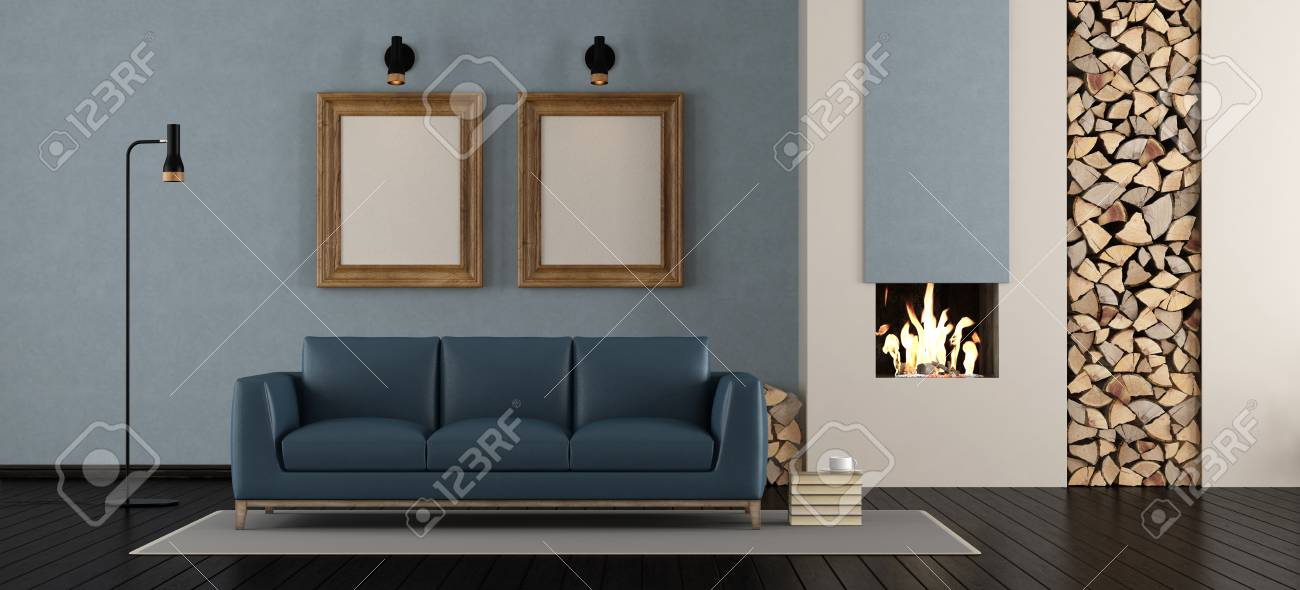 Modern Living Room With Fireplace With Blue Leather Sofa 3d Stock Photo Picture And Royalty Free Image Image 91860709