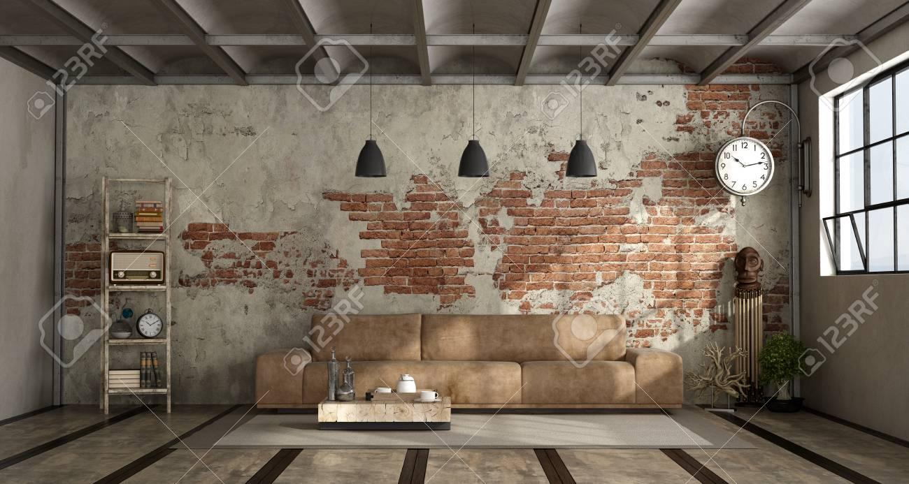 Salon Cuisine Style Industriel 3d style de un avec dans briques canapé et rendu industriel