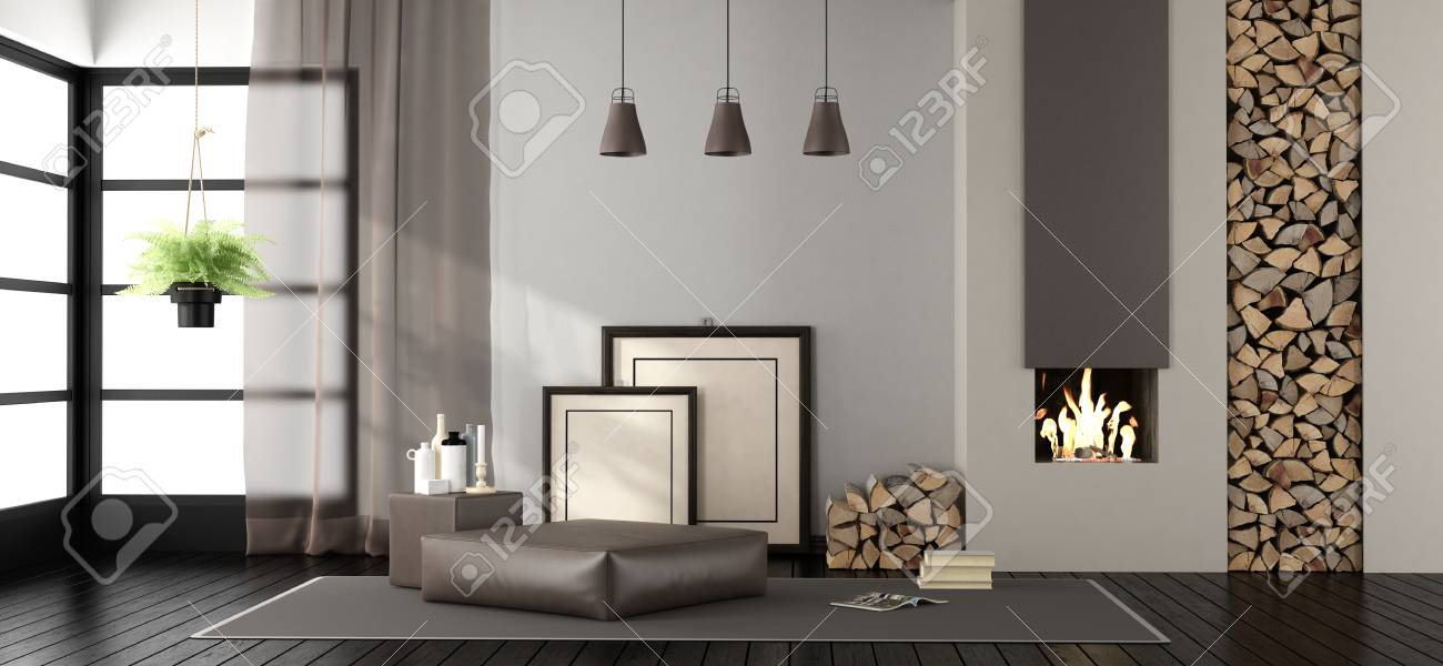 Living Room With Fireplace And Footstool On Carpet   3d Rendering Stock  Photo   93249942