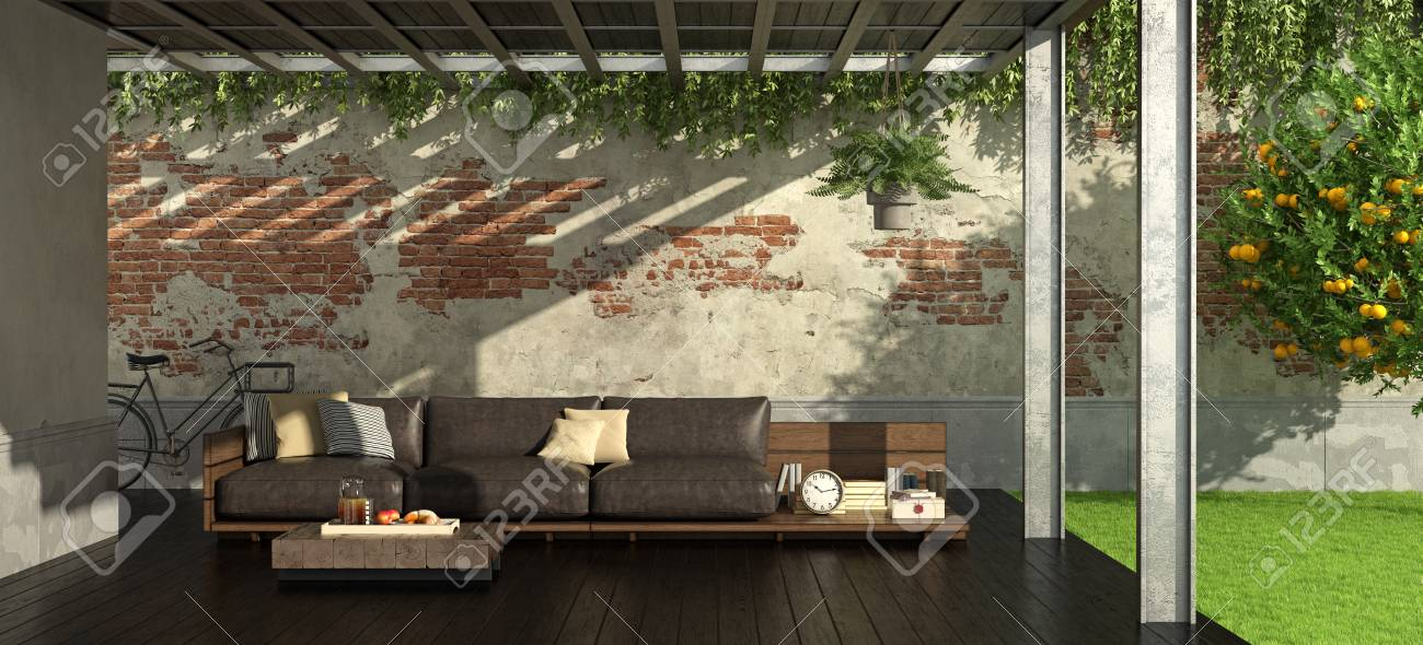Garden With Iron Pergola And Rustic Style Sofa 3d Rendering Stock