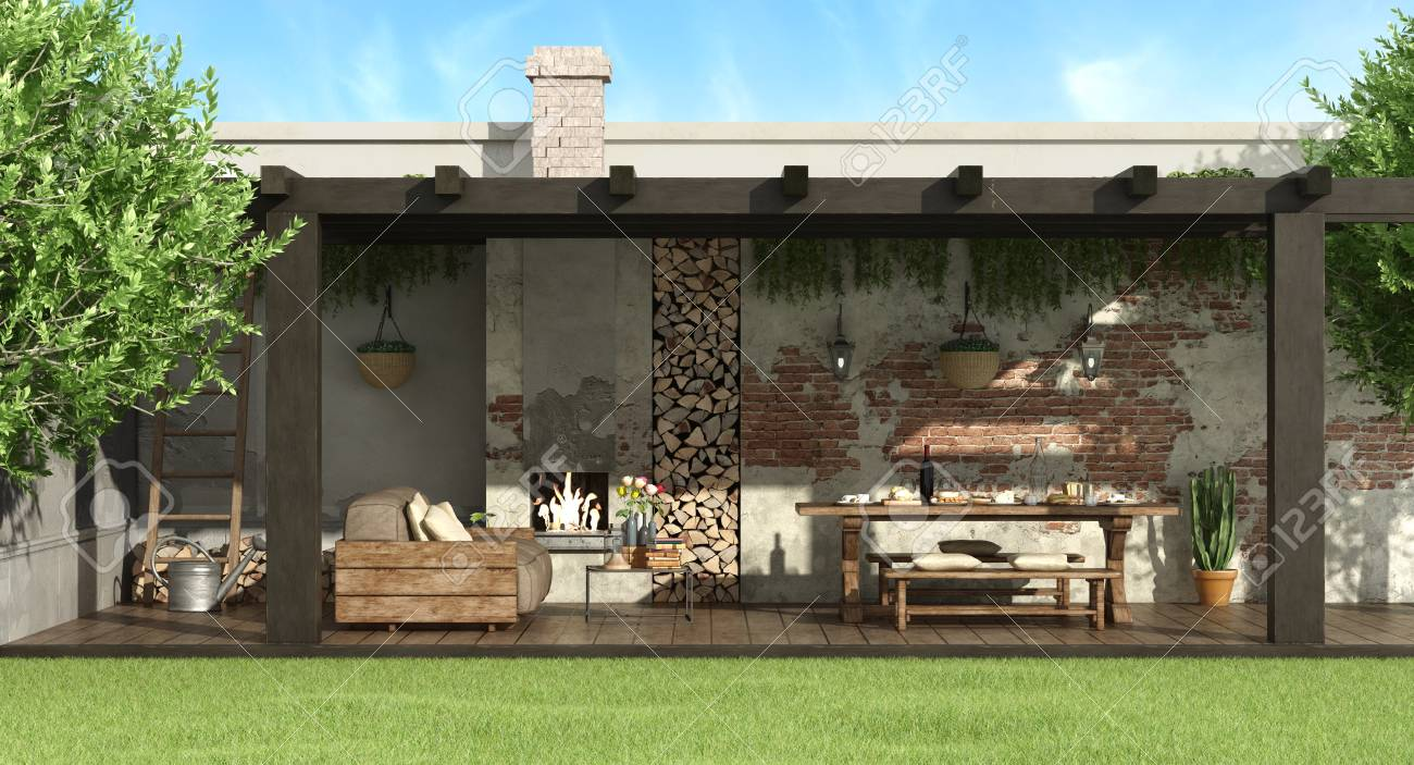 Rustic Pergola In A Garden With Dining Table,barbecue And Sofa ...