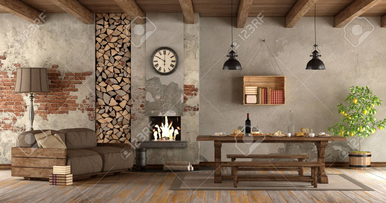 Rustic Style Living Room.Living Room With Fireplace In Rustic Style With Sofa And Dining