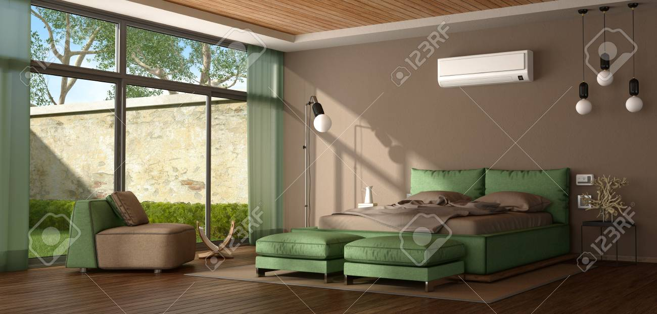 Brown And Green Modern Master Bedroom With Bed,armchair And Air Conditioner    3d Rendering