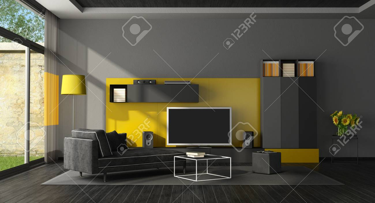 Black And Yellow Living Room With Tv Set Chaise Lounge Stock Photo Picture Royalty Free Image 96628332