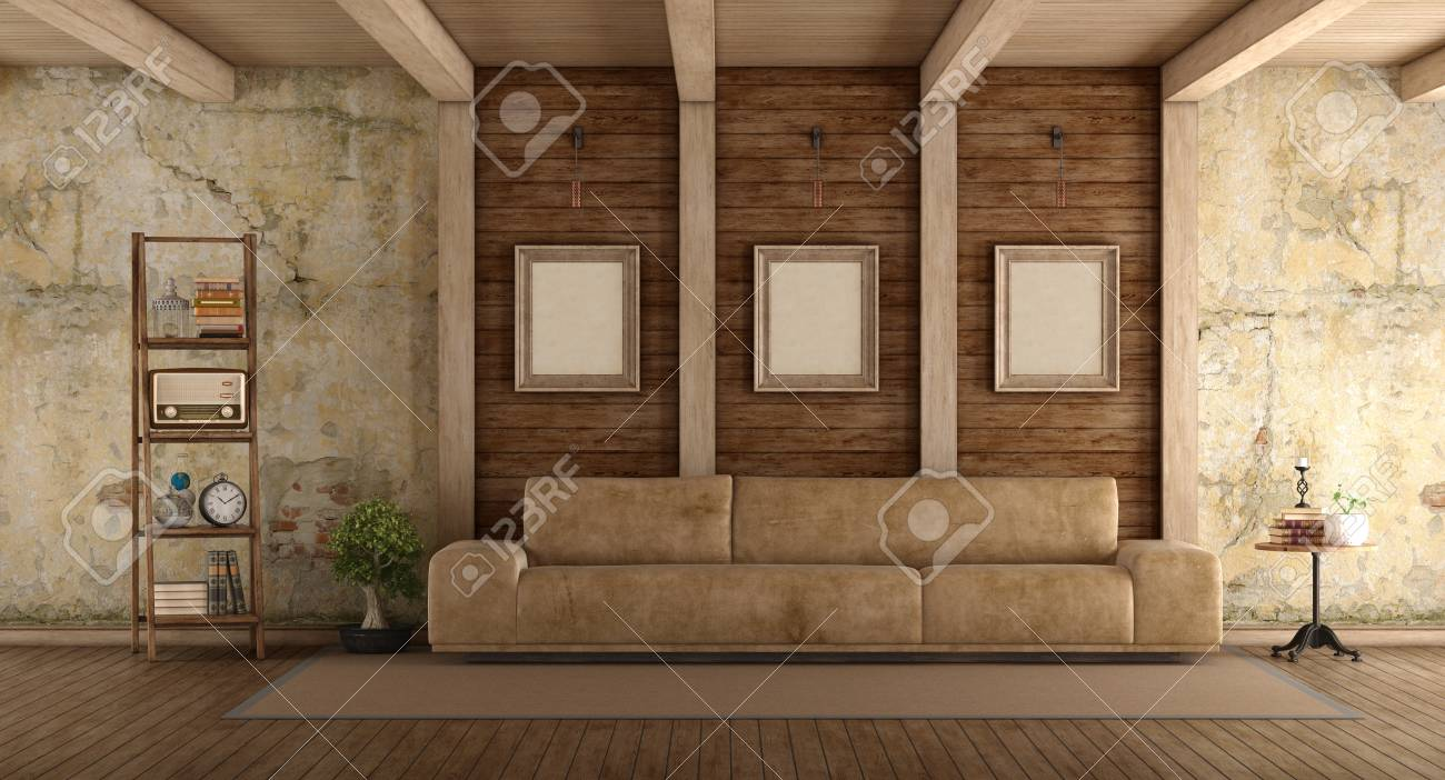 - Retro Living Room With Leather Sofa, Old Wall And Wooden Beams